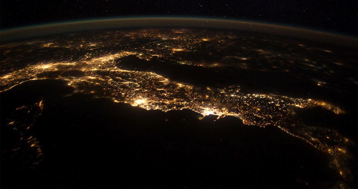 L'Italia fotografata dall'equipaggio della ISS