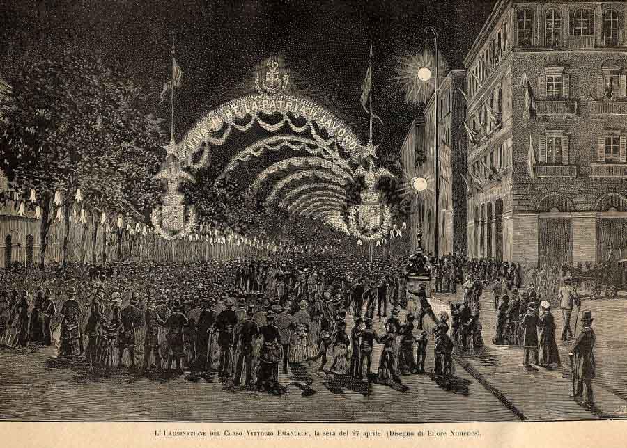 Illuminazione elettrica del corso Vittorio Emanuele, 27 aprile 1884.